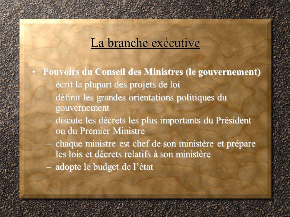 La branche exécutive Pouvoirs du Conseil des Ministres (le gouvernement) écrit la plupart des projets de loi.