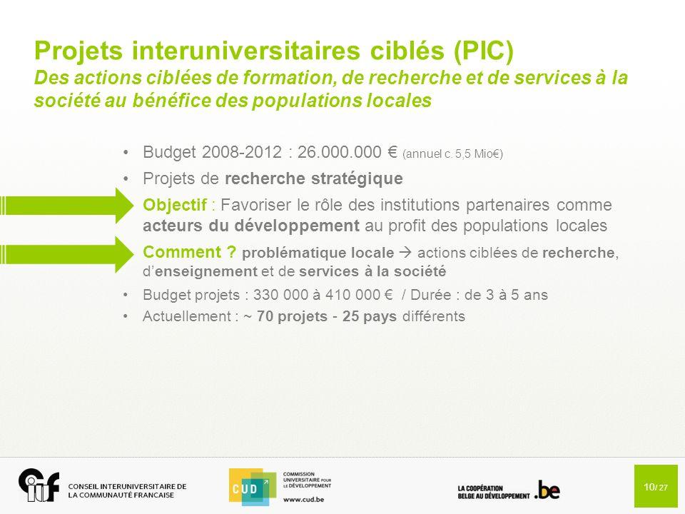 Projets interuniversitaires ciblés (PIC) Des actions ciblées de formation, de recherche et de services à la société au bénéfice des populations locales