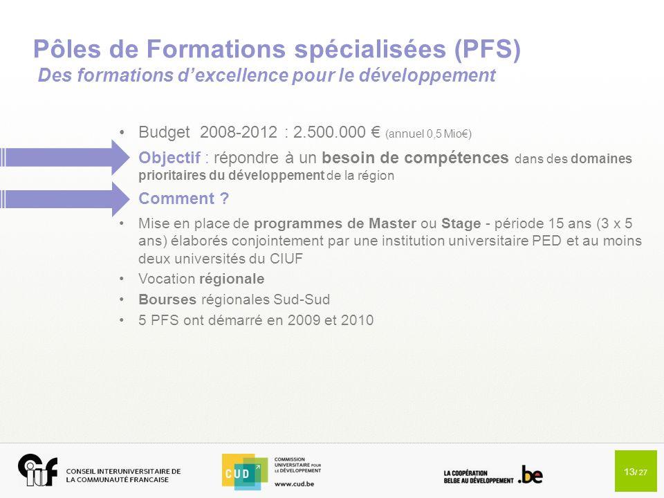 Pôles de Formations spécialisées (PFS) Des formations d'excellence pour le développement