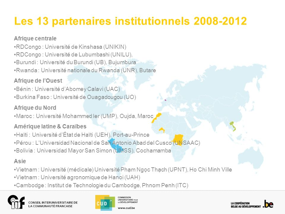 Les 13 partenaires institutionnels 2008-2012