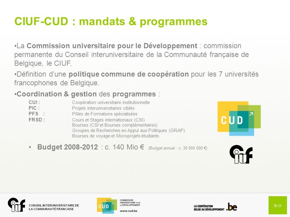 CIUF-CUD : mandats & programmes
