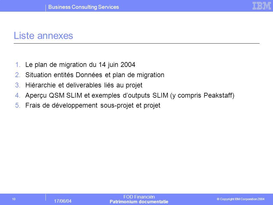 Liste annexes Le plan de migration du 14 juin 2004