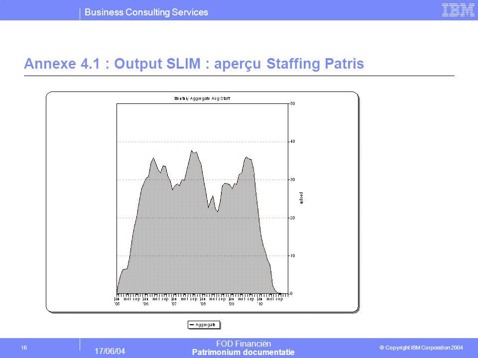 Annexe 4.1 : Output SLIM : aperçu Staffing Patris
