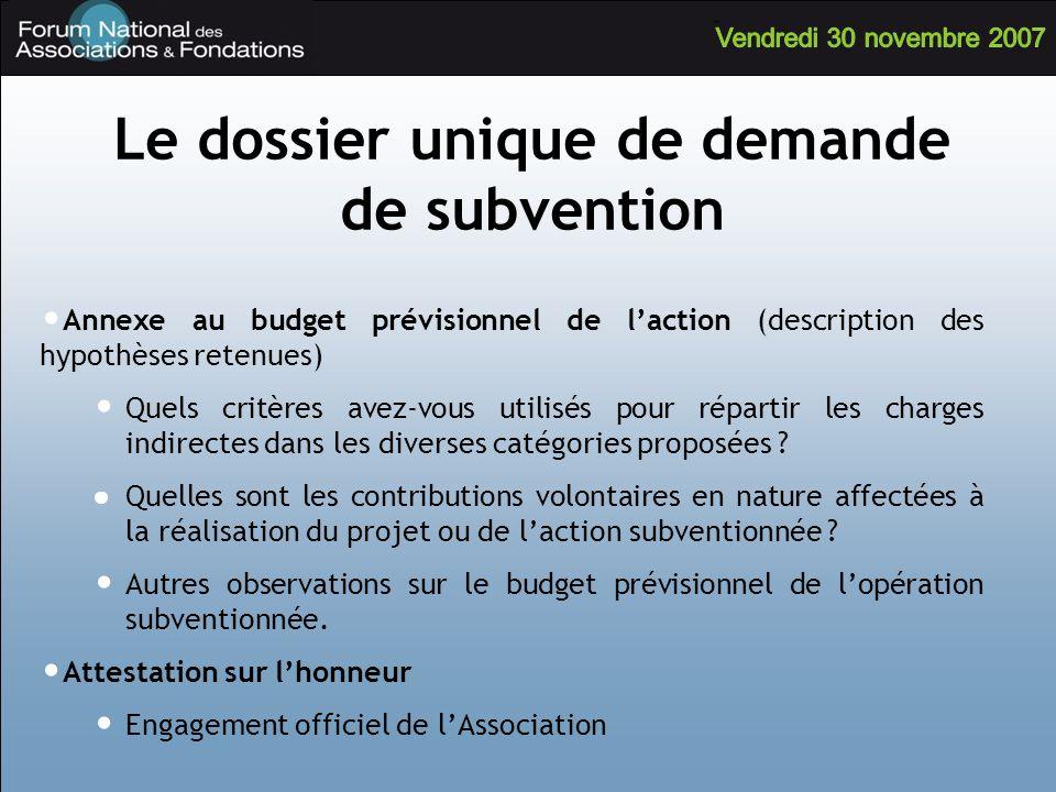 Le dossier unique de demande de subvention