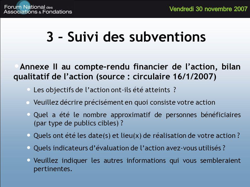 3 – Suivi des subventions