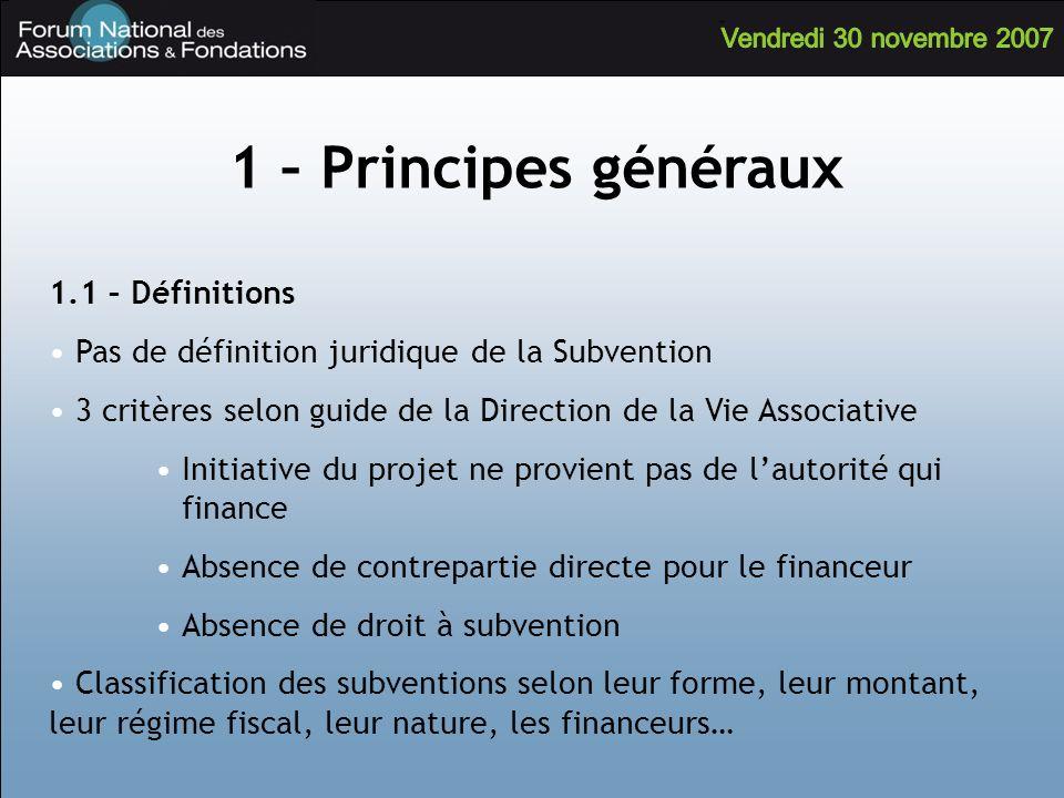 1 – Principes généraux 1.1 – Définitions