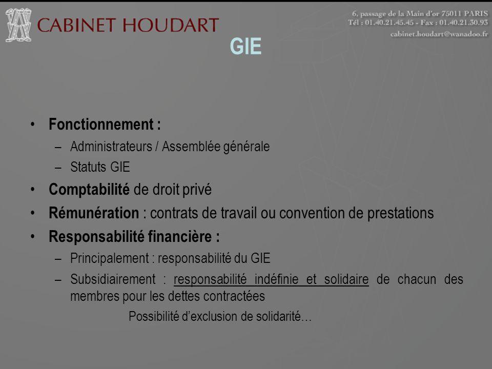 GIE Fonctionnement : Comptabilité de droit privé