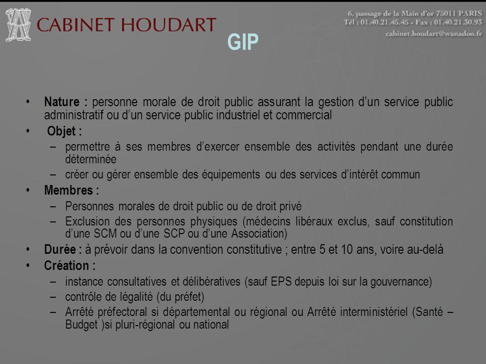 GIP Nature : personne morale de droit public assurant la gestion d'un service public administratif ou d'un service public industriel et commercial.