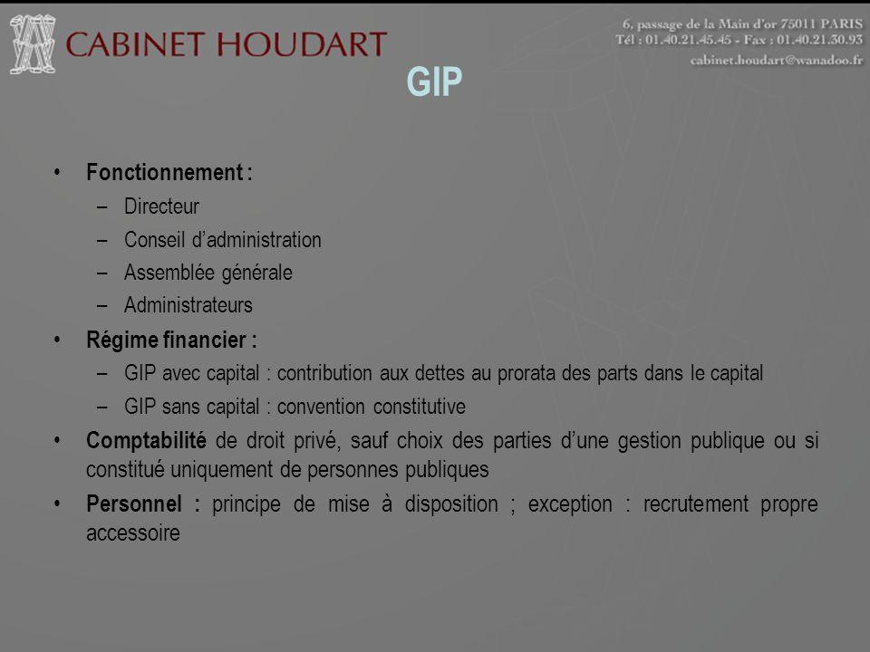 GIP Fonctionnement : Régime financier :
