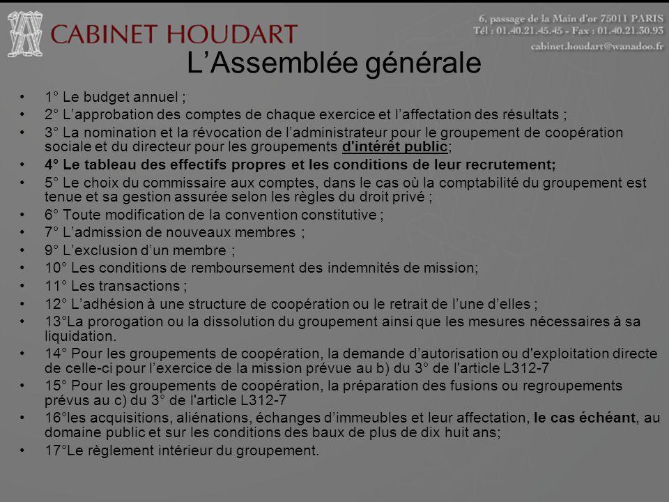 L'Assemblée générale 1° Le budget annuel ;