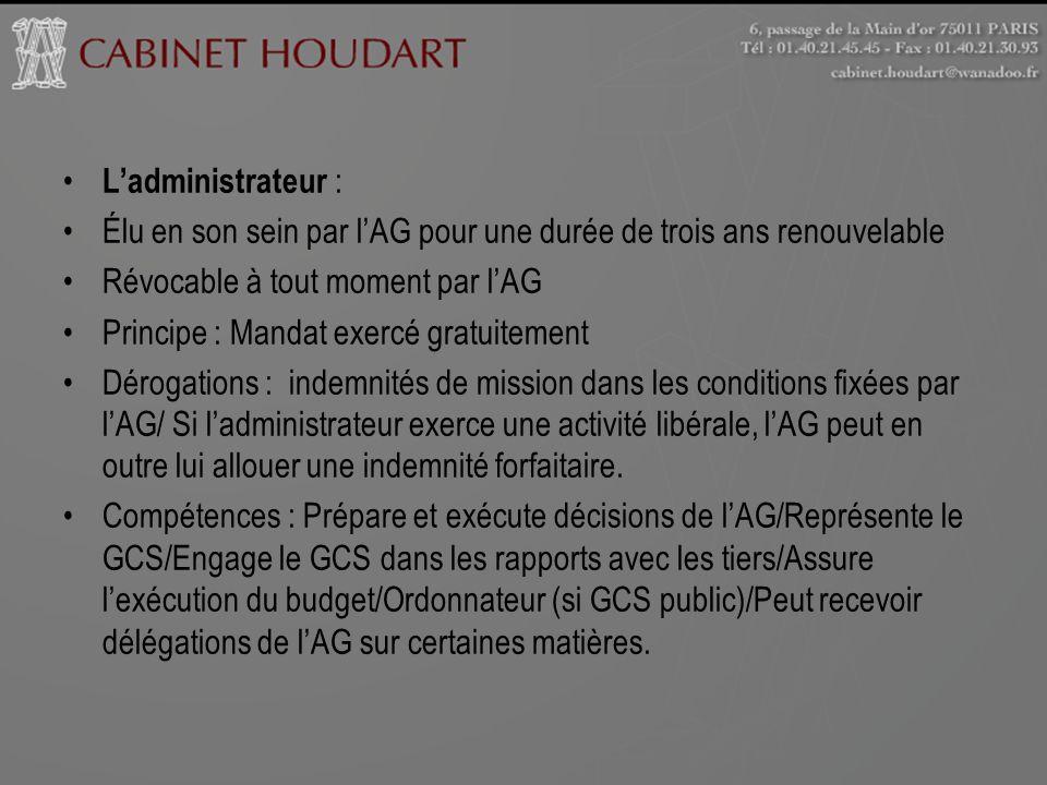 L'administrateur : Élu en son sein par l'AG pour une durée de trois ans renouvelable. Révocable à tout moment par l'AG.