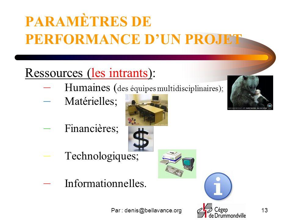 PARAMÈTRES DE PERFORMANCE D'UN PROJET