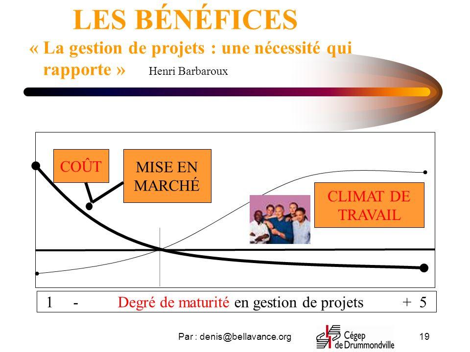 LES BÉNÉFICES « La gestion de projets : une nécessité qui rapporte » Henri Barbaroux