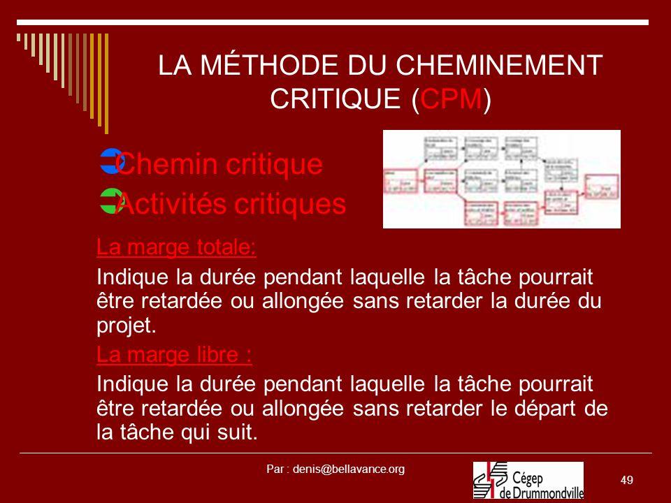 LA MÉTHODE DU CHEMINEMENT CRITIQUE (CPM)