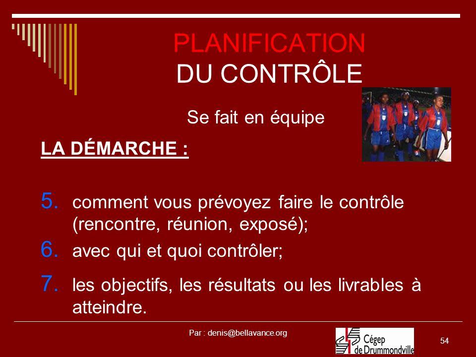 PLANIFICATION DU CONTRÔLE