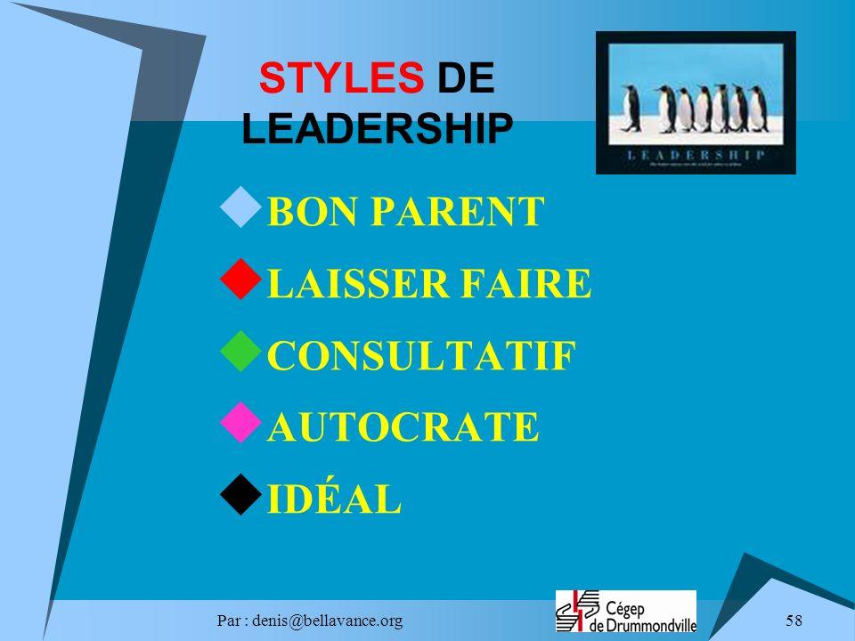 STYLES DE LEADERSHIP BON PARENT LAISSER FAIRE CONSULTATIF AUTOCRATE