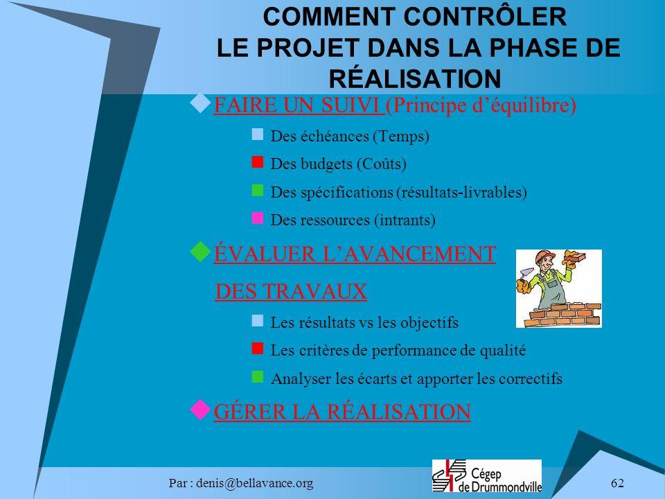 COMMENT CONTRÔLER LE PROJET DANS LA PHASE DE RÉALISATION