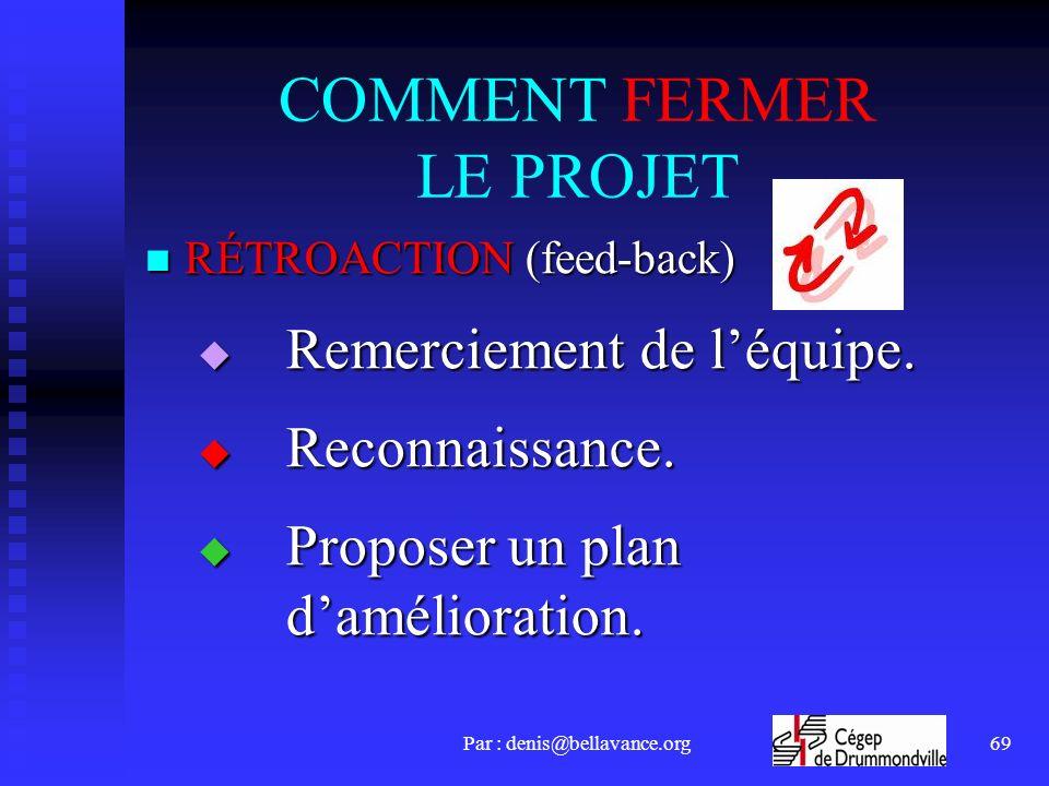 COMMENT FERMER LE PROJET