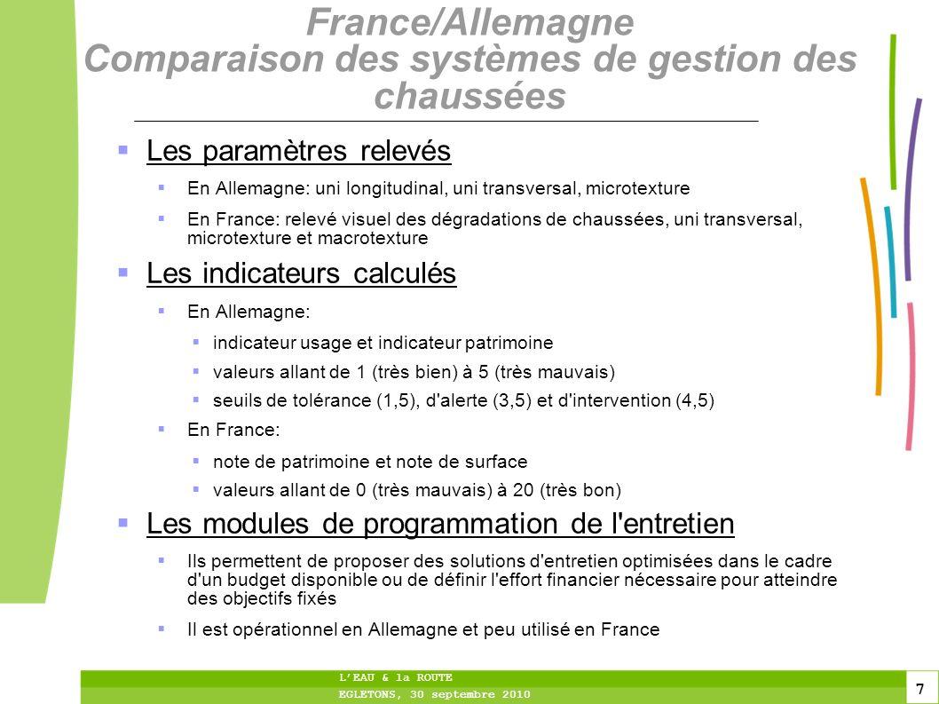 France/Allemagne Comparaison des systèmes de gestion des chaussées