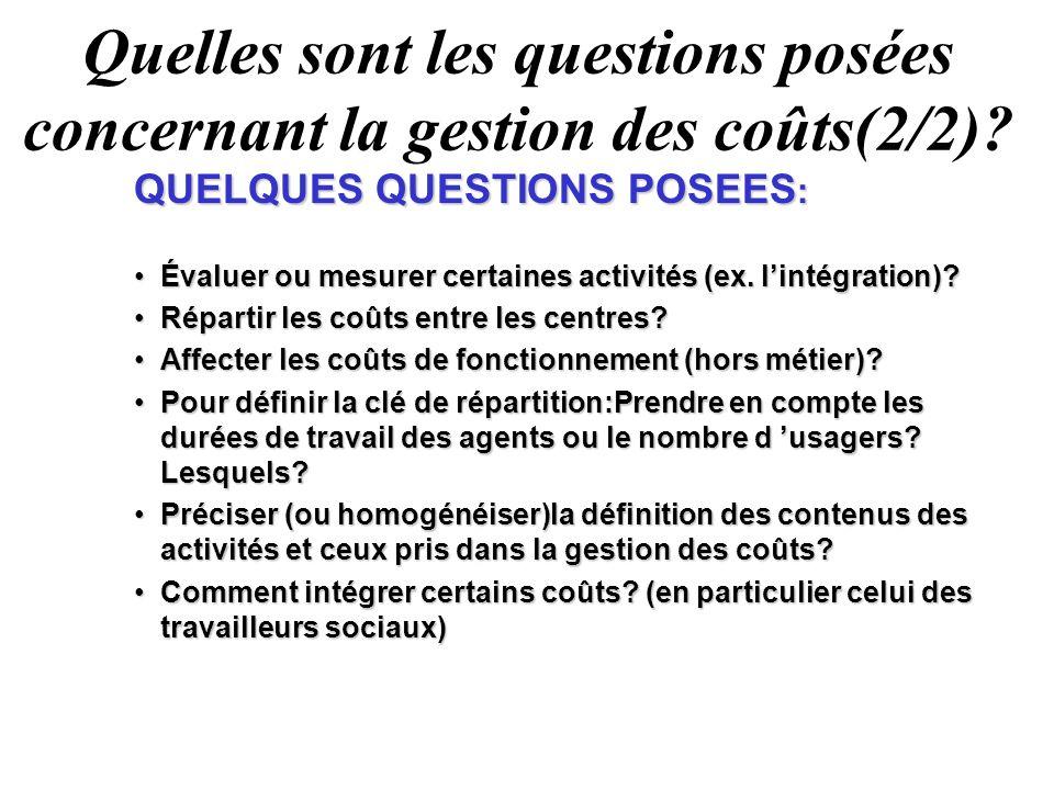 Quelles sont les questions posées concernant la gestion des coûts(2/2)