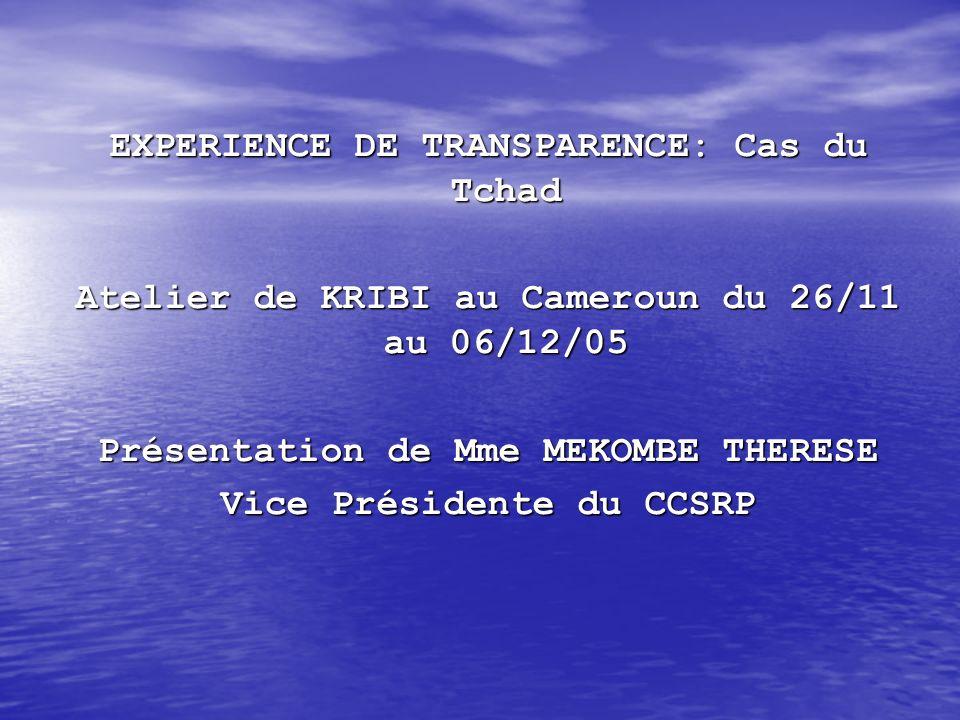 EXPERIENCE DE TRANSPARENCE: Cas du Tchad