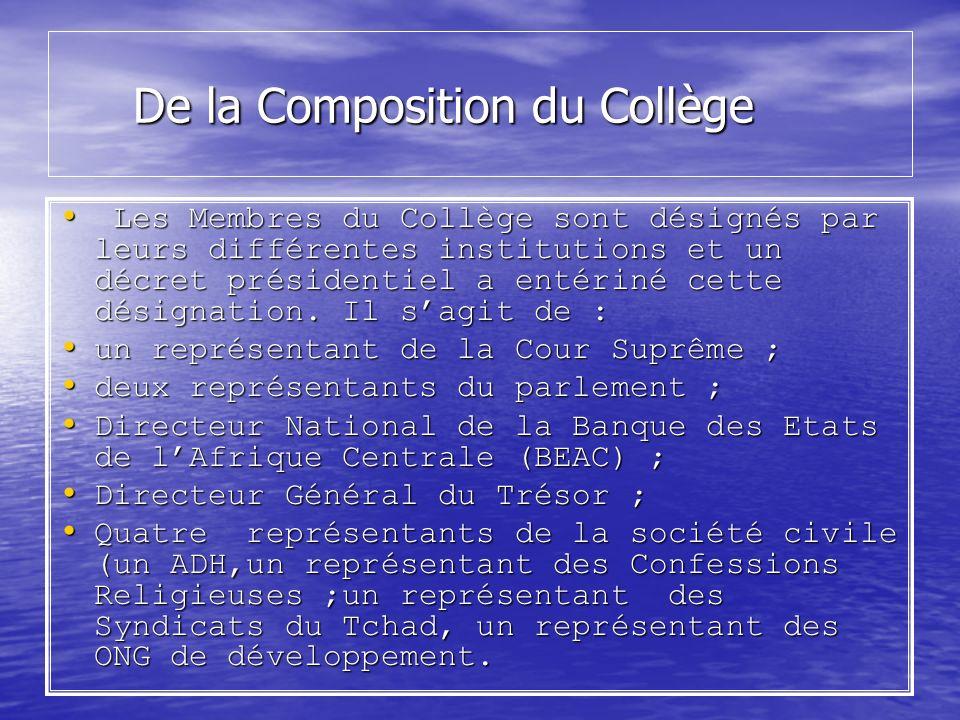 De la Composition du Collège