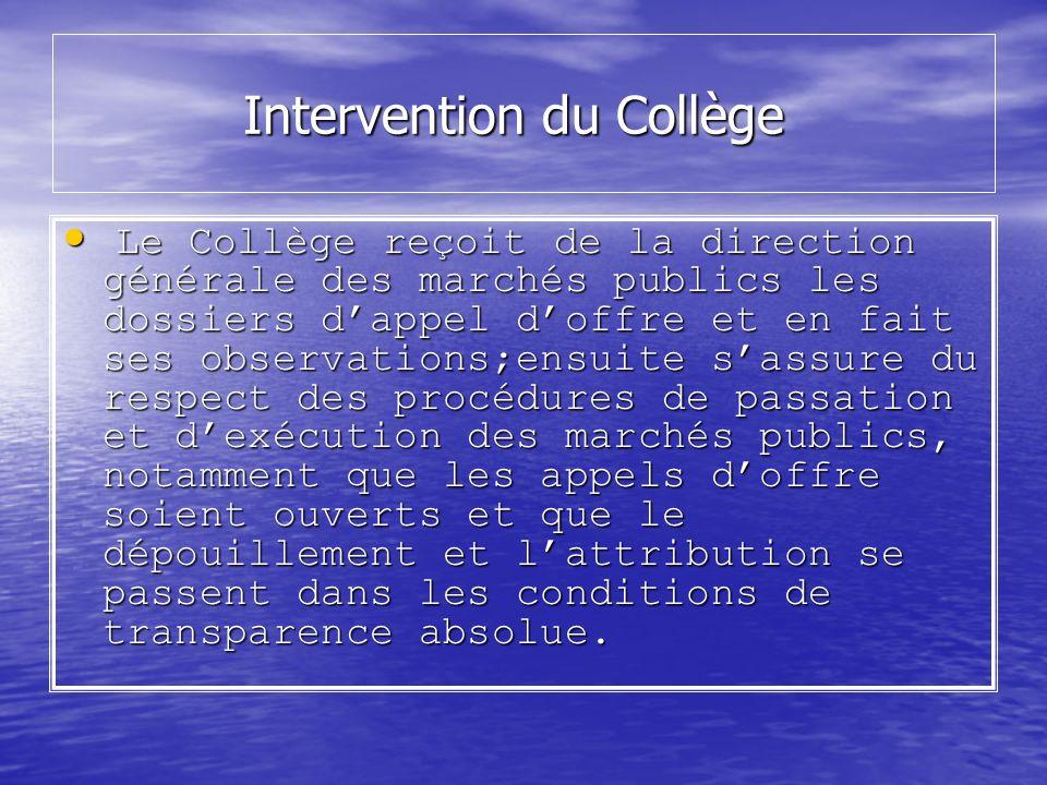 Intervention du Collège