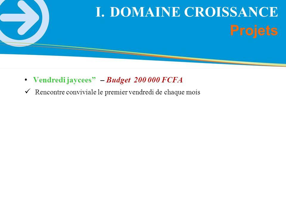 DOMAINE CROISSANCE Projets Vendredi jaycees – Budget 200 000 FCFA