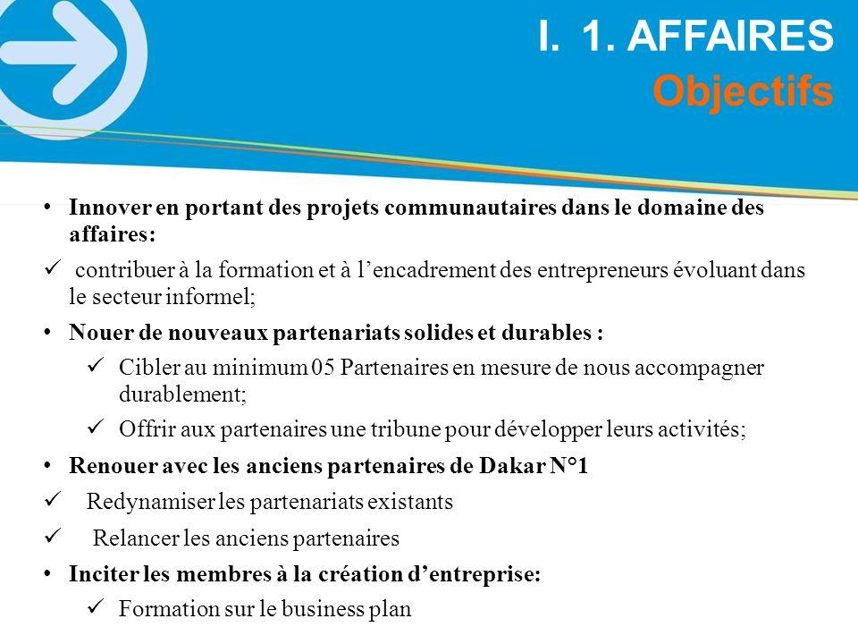 1. AFFAIRES Objectifs. Innover en portant des projets communautaires dans le domaine des affaires: