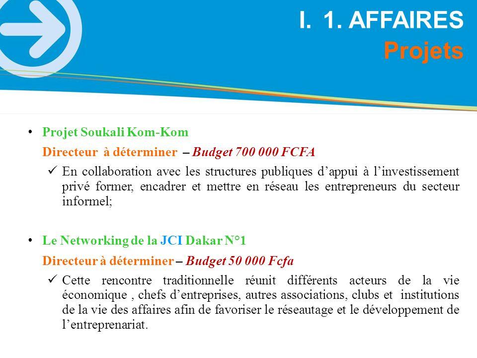 1. AFFAIRES Projets Projet Soukali Kom-Kom