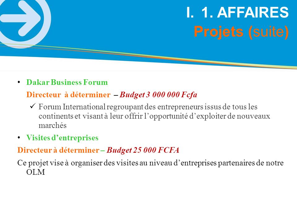 1. AFFAIRES Projets (suite) Dakar Business Forum
