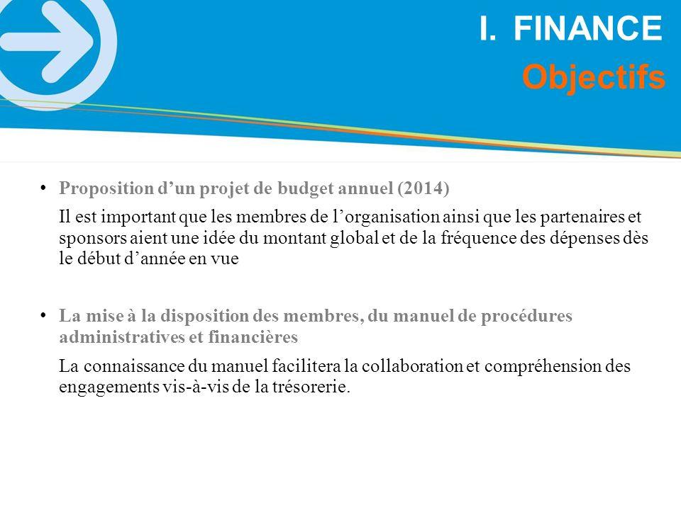 FINANCE Objectifs Proposition d'un projet de budget annuel (2014)