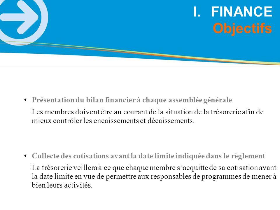 FINANCE Objectifs. Présentation du bilan financier à chaque assemblée générale.