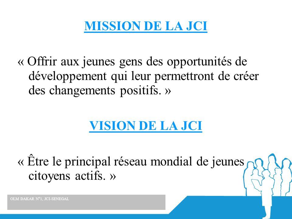MISSION DE LA JCI « Offrir aux jeunes gens des opportunités de développement qui leur permettront de créer des changements positifs. » VISION DE LA JCI « Être le principal réseau mondial de jeunes citoyens actifs. »