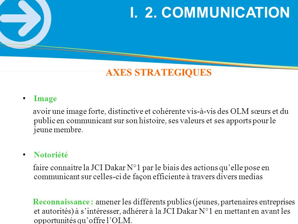 2. COMMUNICATION AXES STRATEGIQUES Image