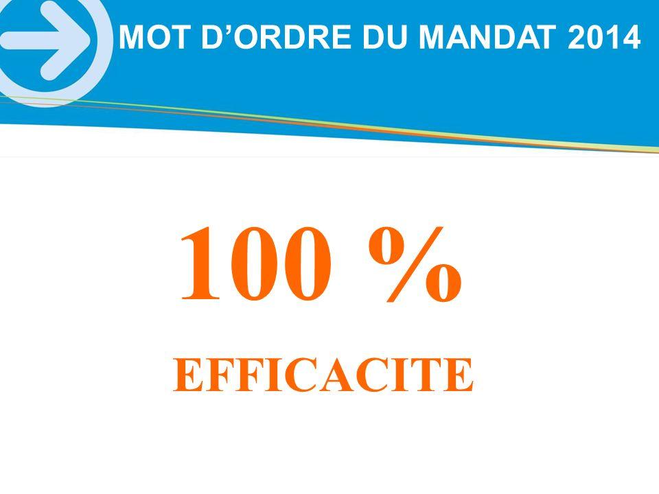 MOT D'ORDRE DU MANDAT 2014 100 % EFFICACITE