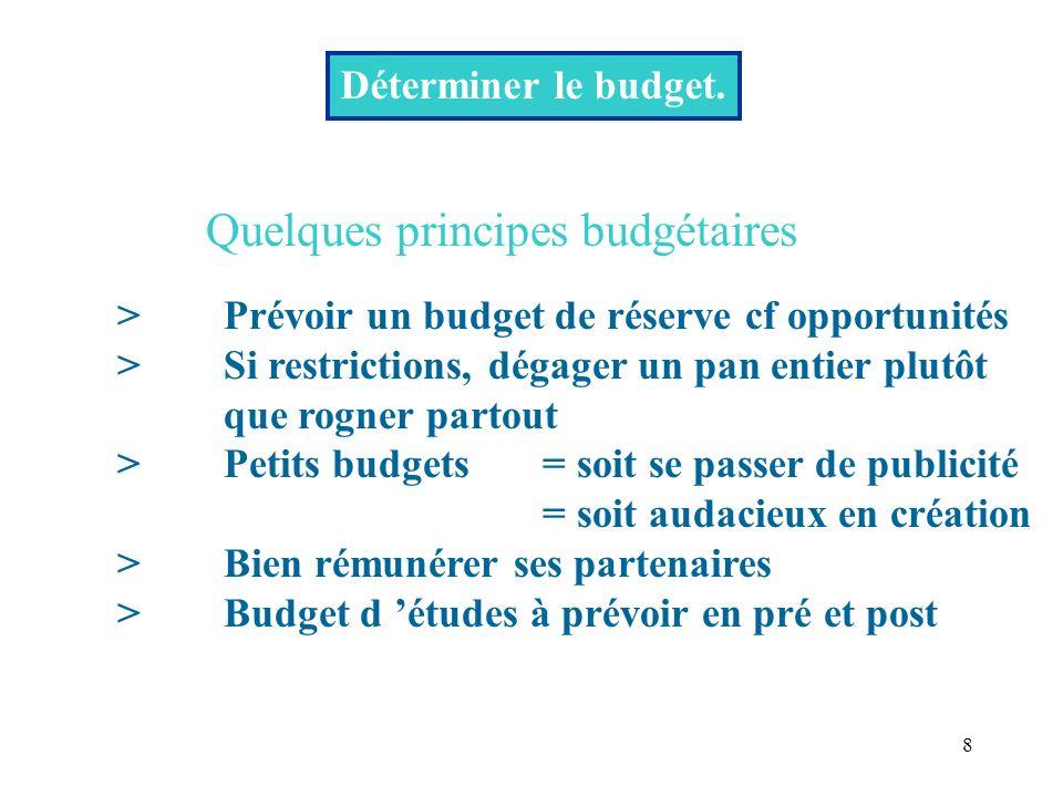 Quelques principes budgétaires