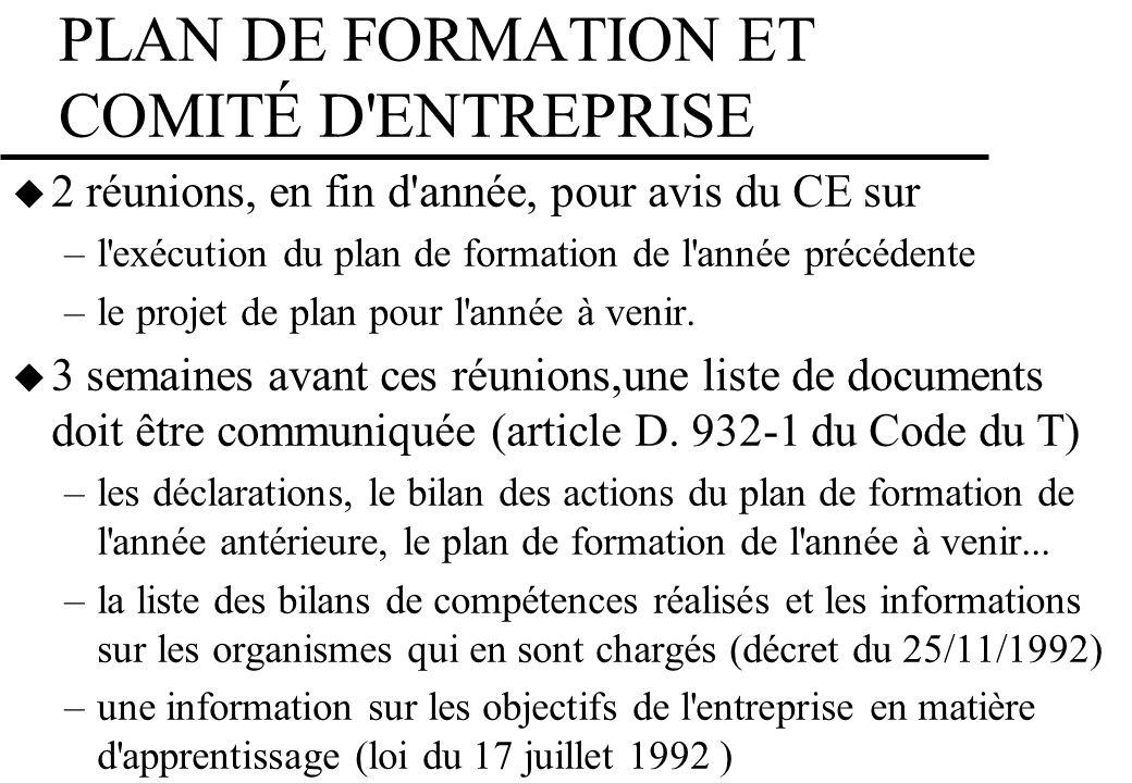 PLAN DE FORMATION ET COMITÉ D ENTREPRISE