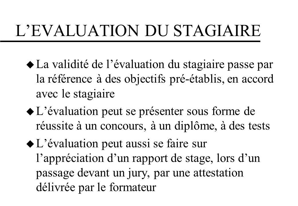 L'EVALUATION DU STAGIAIRE