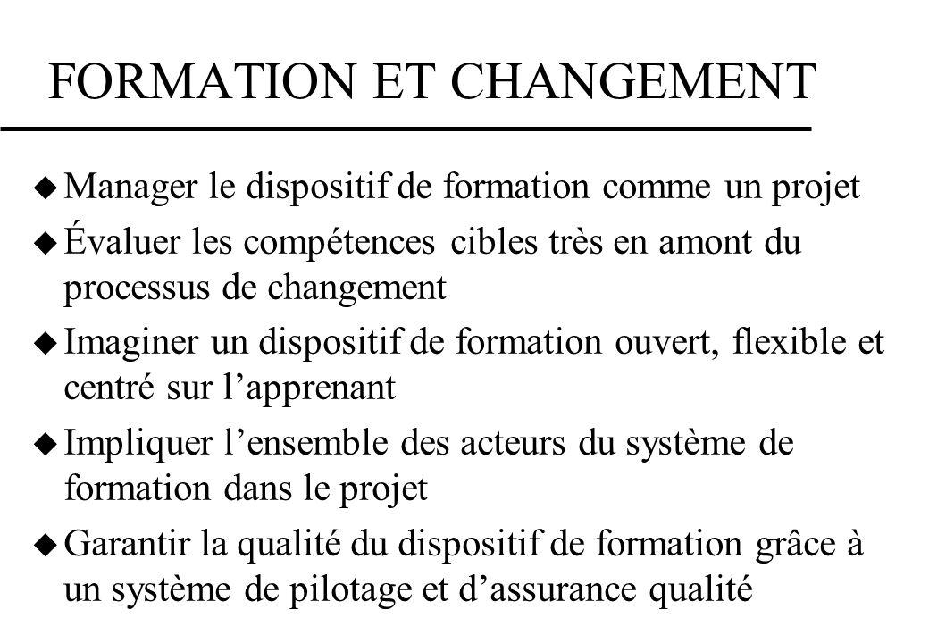 FORMATION ET CHANGEMENT