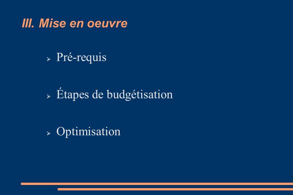III. Mise en oeuvre Pré-requis Étapes de budgétisation Optimisation