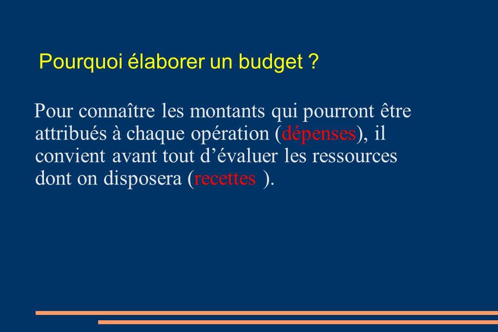 Pourquoi élaborer un budget