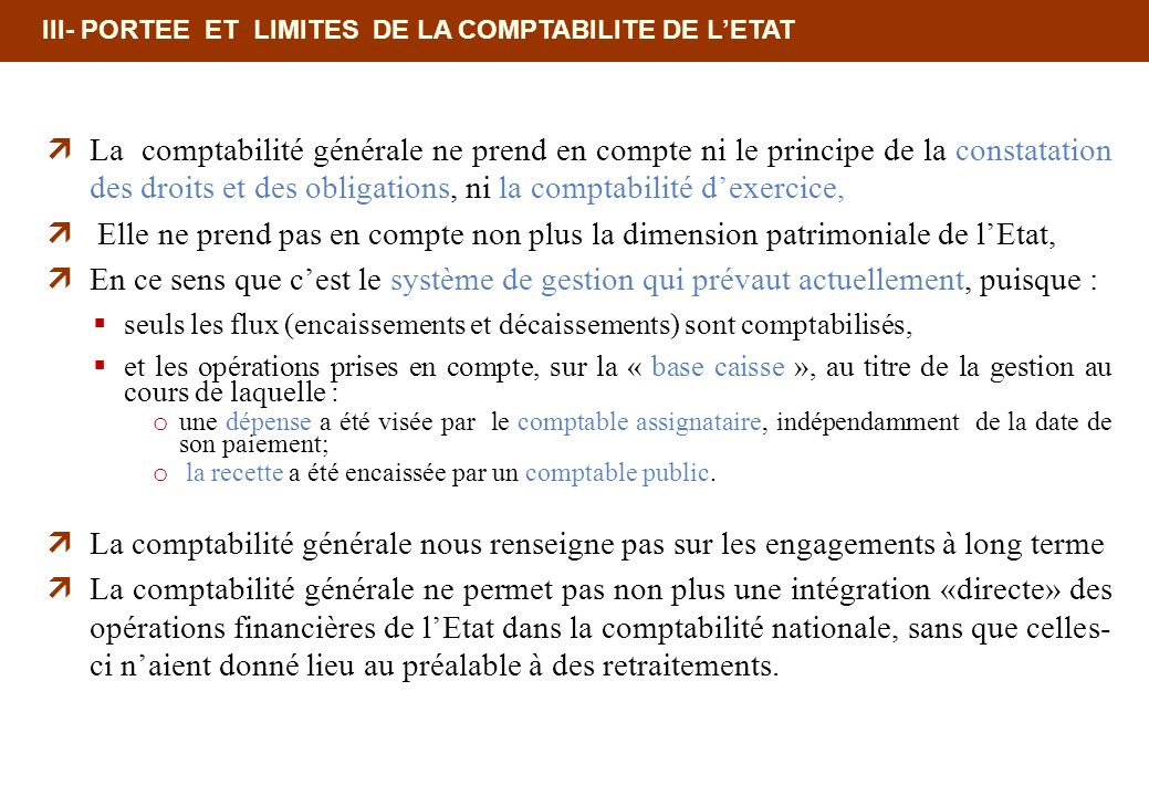 18/02/10 12:35 PM III- PORTEE ET LIMITES DE LA COMPTABILITE DE L'ETAT.