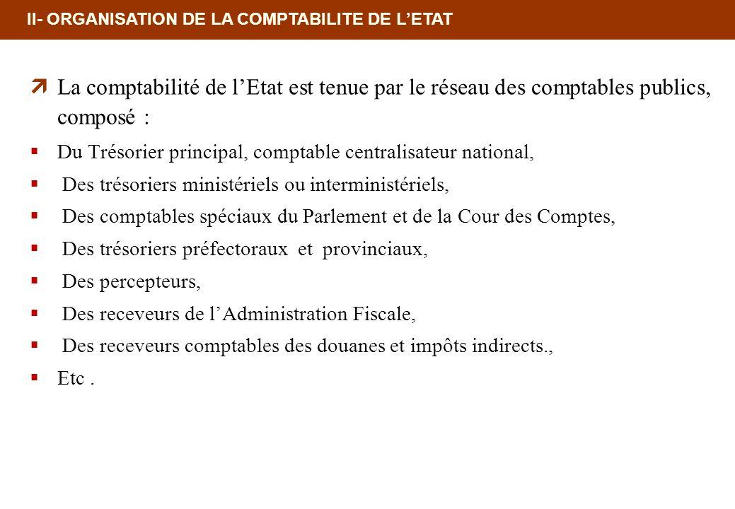 18/02/10 12:35 PM II- ORGANISATION DE LA COMPTABILITE DE L'ETAT. La comptabilité de l'Etat est tenue par le réseau des comptables publics, composé :