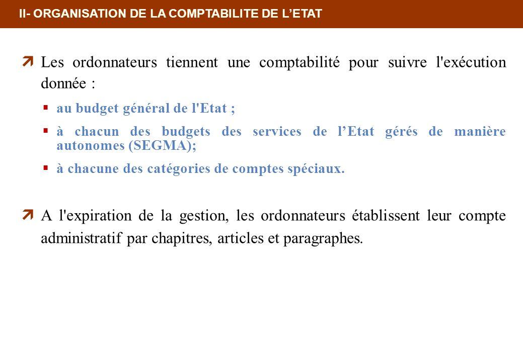 18/02/10 12:35 PM II- ORGANISATION DE LA COMPTABILITE DE L'ETAT. Les ordonnateurs tiennent une comptabilité pour suivre l exécution donnée :