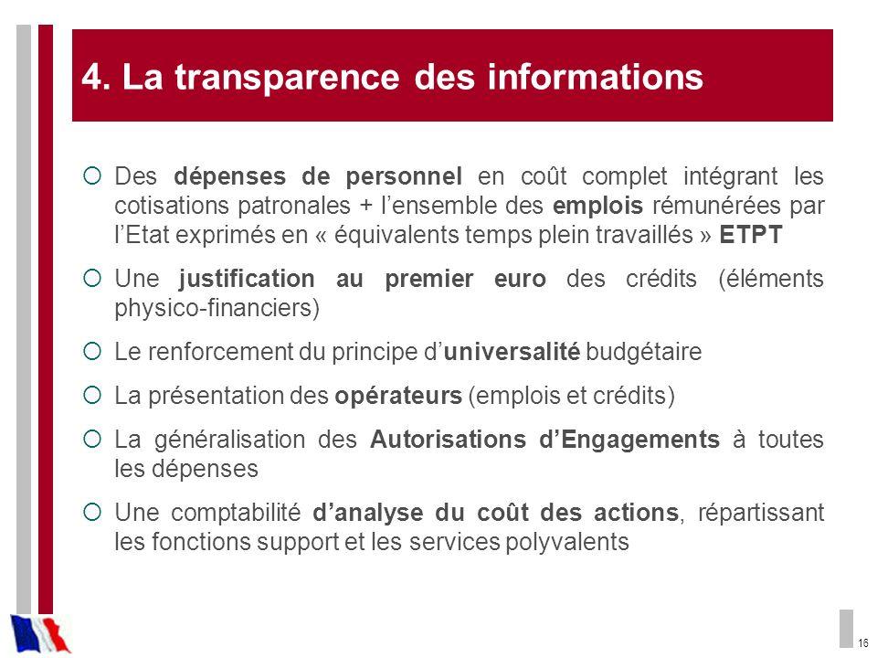 4. La transparence des informations