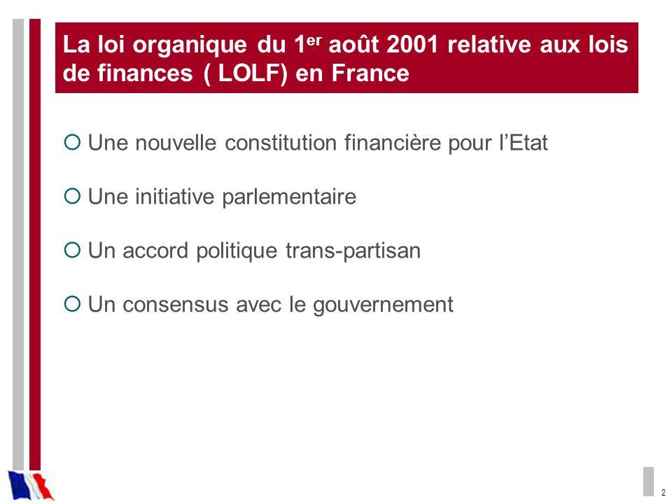 La loi organique du 1er août 2001 relative aux lois de finances ( LOLF) en France