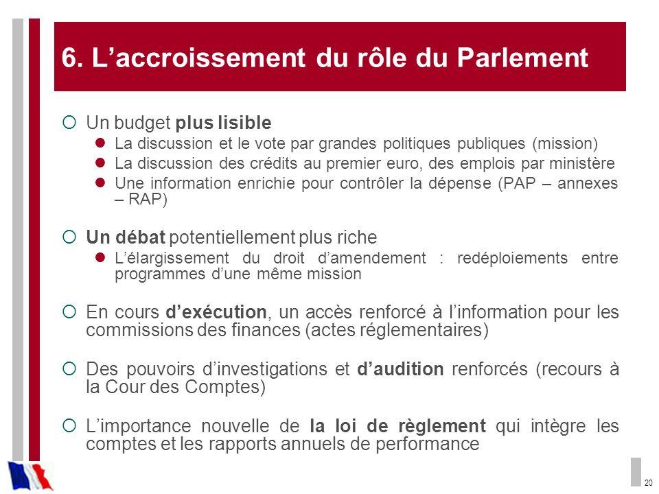 6. L'accroissement du rôle du Parlement