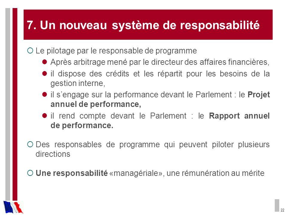 7. Un nouveau système de responsabilité