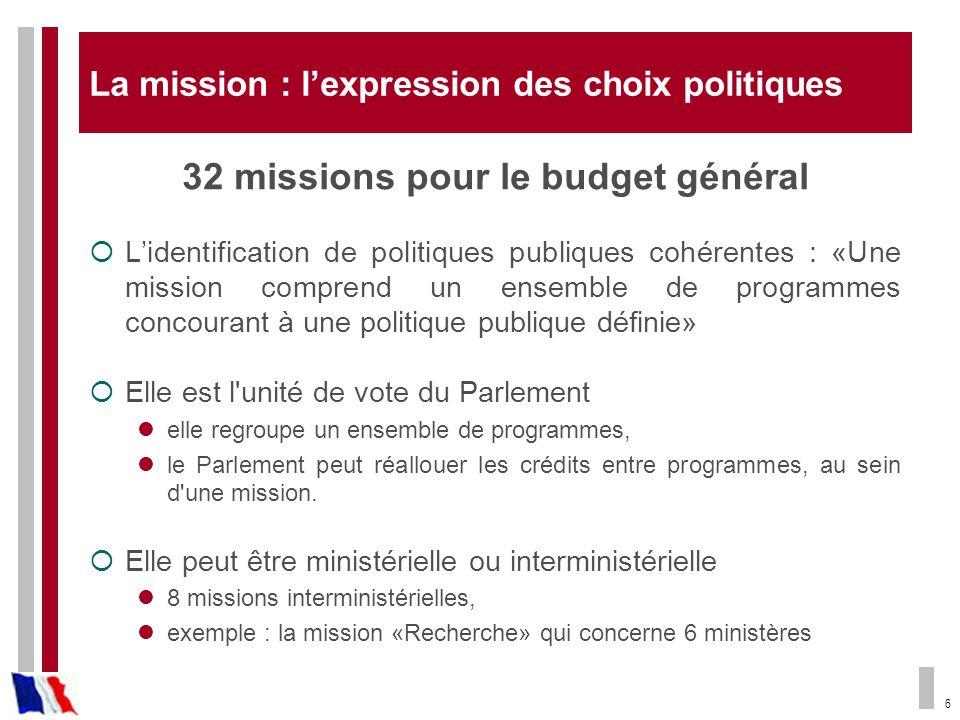 La mission : l'expression des choix politiques